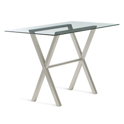 Andreas Glass + Metal Modern Bar Table