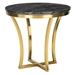 Aquila Black Marble + Gold Steel Round Modern End Table