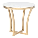 Aquila White Marble + Gold Steel Round Modern End Table