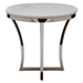 Aurora White Marble + Polished Steel Round Modern End Table