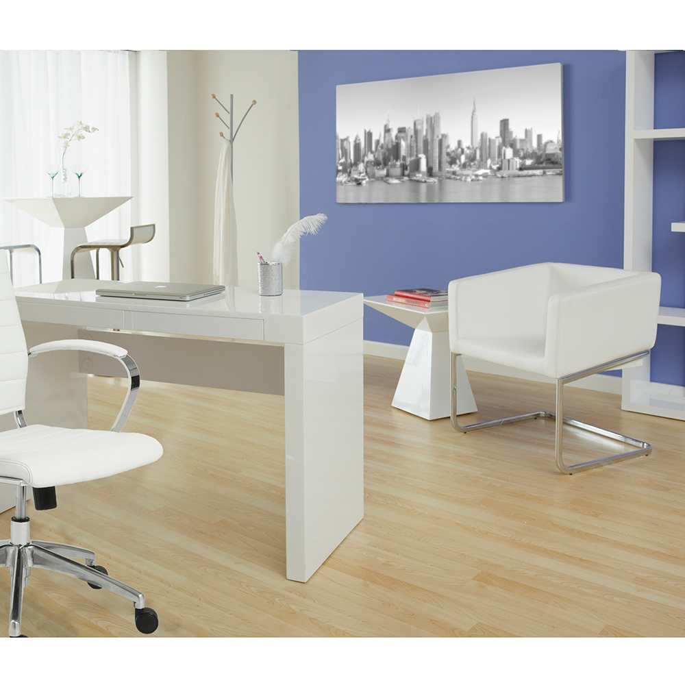 ... Arad Lounge Chair In White + Downey Desk ...