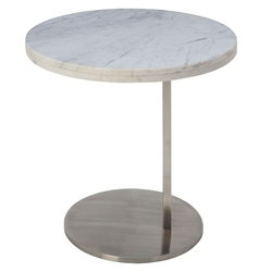 Aransas White Marble + Brushed Steel Round Modern Side End Table
