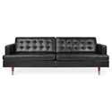 Gus* Modern Archer Sofa in Saddle Black Leather
