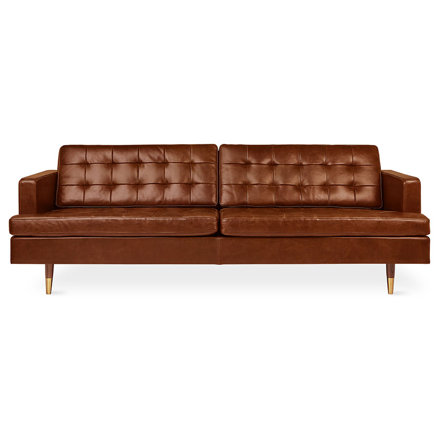 Gus* Modern Archer Sofa in Saddle Brown Leather