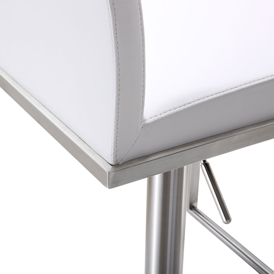 Ardennes White Modern Adjustable Stool - Lever Detail