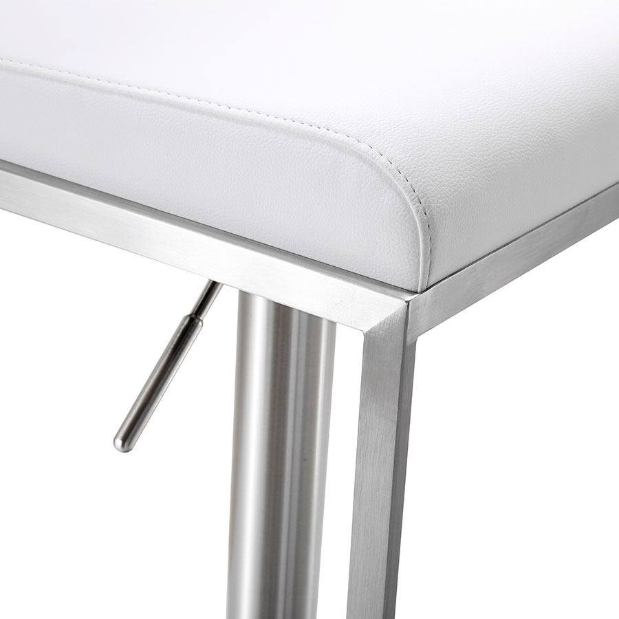 Ardennes Modern White Adjustable Stool - Seat Detail