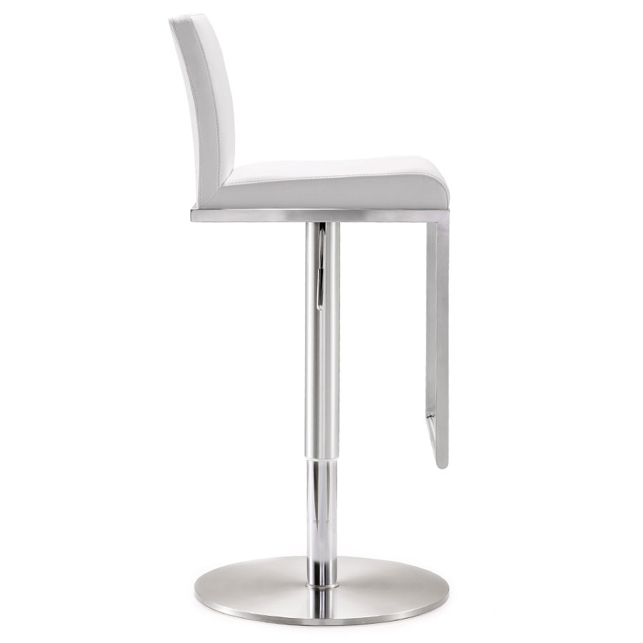 Ardennes Modern White Adjustable Stool - Side View
