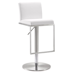 Ardennes Modern White Adjustable Height Stool