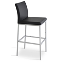 Aria Modern Bar Stool Black Leatherette + Chrome Base