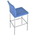 Aria Modern Bar Stool Sky Blue Wool + Chrome Base