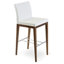Aria Modern Bar Stool White Leatherette + Walnut Wood Base