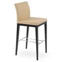 Aria Modern Bar Stool Tan Leatherette + Wenge Wood Base