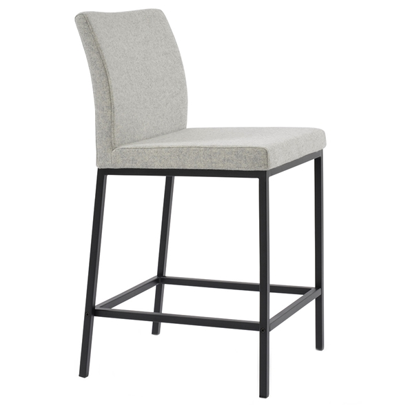 Aria Modern Counter Stool Silver Wool + Black Steel Base