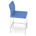 Aria Modern Counter Stool Sky Blue Wool + Chrome Base