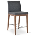 Aria Modern Counter Stool Dark Gray Wool + Walnut Wood Base