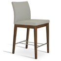 Aria Modern Counter Stool Lt. Gray Leatherette + Walnut Wood Base