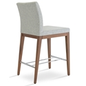 Aria Modern Counter Stool Silver Wool + Walnut Wood Base