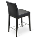 Aria Modern Counter Stool Black Leatherette + Wenge Wood Base