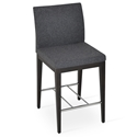 Aria Modern Counter Stool Dark Gray Wool + Wenge Wood Base