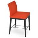 Aria Modern Counter Stool Orange Wool + Wenge Wood Base