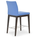 Aria Modern Counter Stool Sky Blue Wool + Wenge Wood Base
