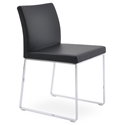 Aria Modern Dining Chair Black Leatherette + Chrome Sled Base