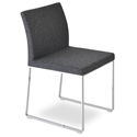 Aria Modern Dining Chair Dark Gray Wool + Chrome Sled Base