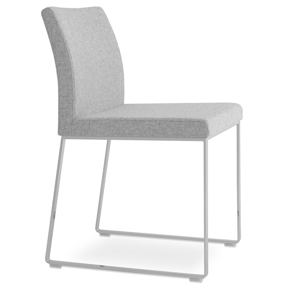 Aria Modern Dining Chair Silver Wool + Chrome Sled Base