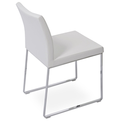 Aria Modern Dining Chair White Leatherette + Chrome Sled Base