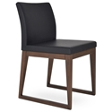 Aria Modern Dining Chair Black Leatherette + Sled Wood Base