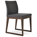 Aria Modern Dining Chair Dark Gray Wool + Sled Wood Base