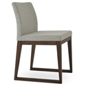 Aria Modern Dining Chair Silver Wool + Sled Wood Base