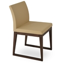 Aria Modern Dining Chair Tan Leatherette + Sled Wood Base