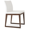 Aria Modern Dining Chair White Leatherette + Sled Wood Base