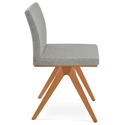 Aria Fino Modern Dining Chair Silver Wool + Natural Base