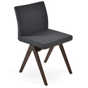 Aria Fino Modern Dining Chair Dark Gray Wool + Walnut Base