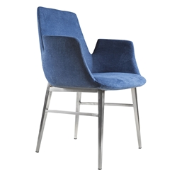 Archer Blue Velvet Fabric + Brushed Stainless Steel Modern Arm Chair