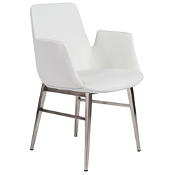 Arkham White + Brushed Stainless Steel Modern Arm Chair
