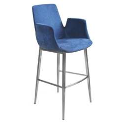 Arkham Blue Velvet Fabric + Brushed Stainless Steel Modern Bar Stool
