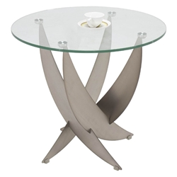 Arlington Modern Glass Top End Table