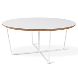 Array White Laminate + Powder Coated Metal Modern Coffee Table