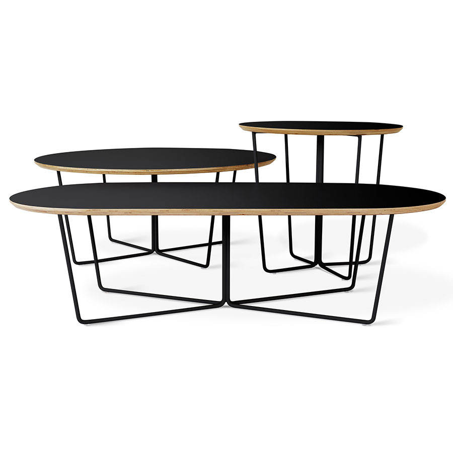 Gus Modern Array Black Oval Coffee Table Eurway