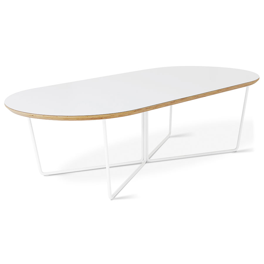 Gus* Modern Array Oval Coffee Table in White