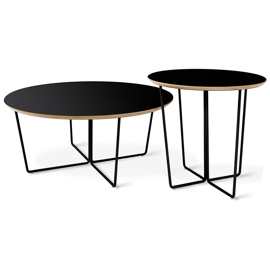 Gus modern array black round coffee table eurway Black coffee table