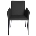 Amir Black Faux Leather  Metal Modern Dining Arm Chair