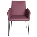 Amir Purple Faux Leather  Metal Modern Dining Arm Chair