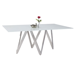 Arturo Modern Starphire Glass Top Dining Table