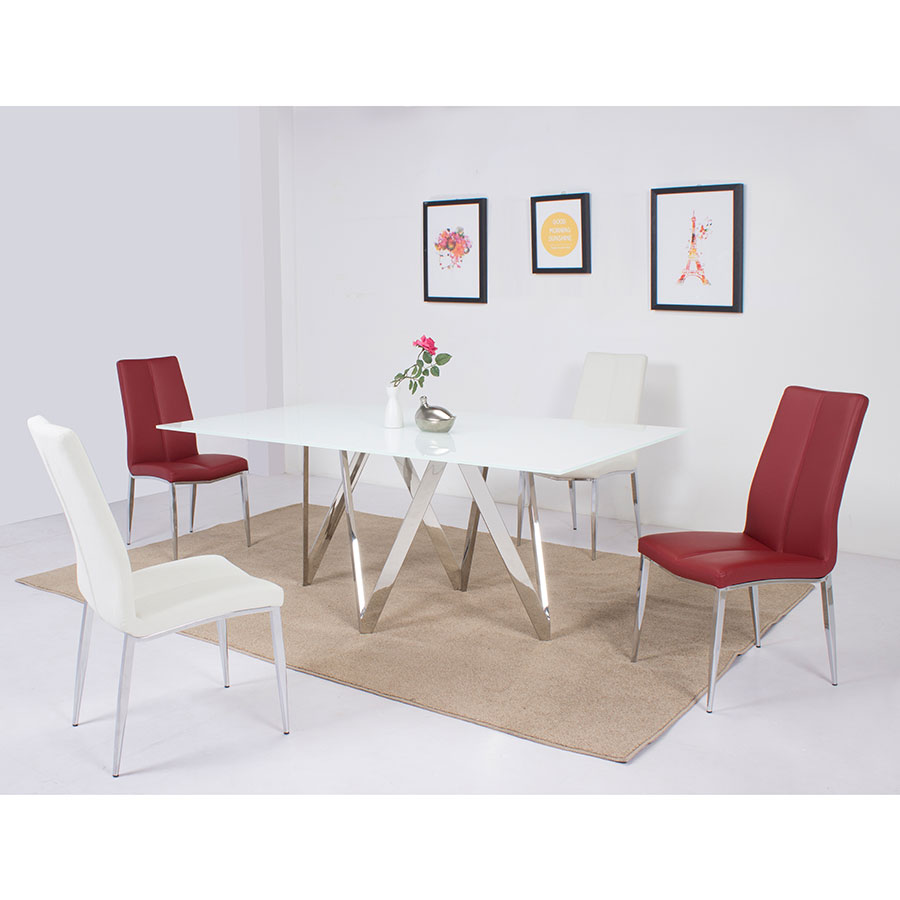 Modern dining chairs arturo red side chair eurway for Red dining table