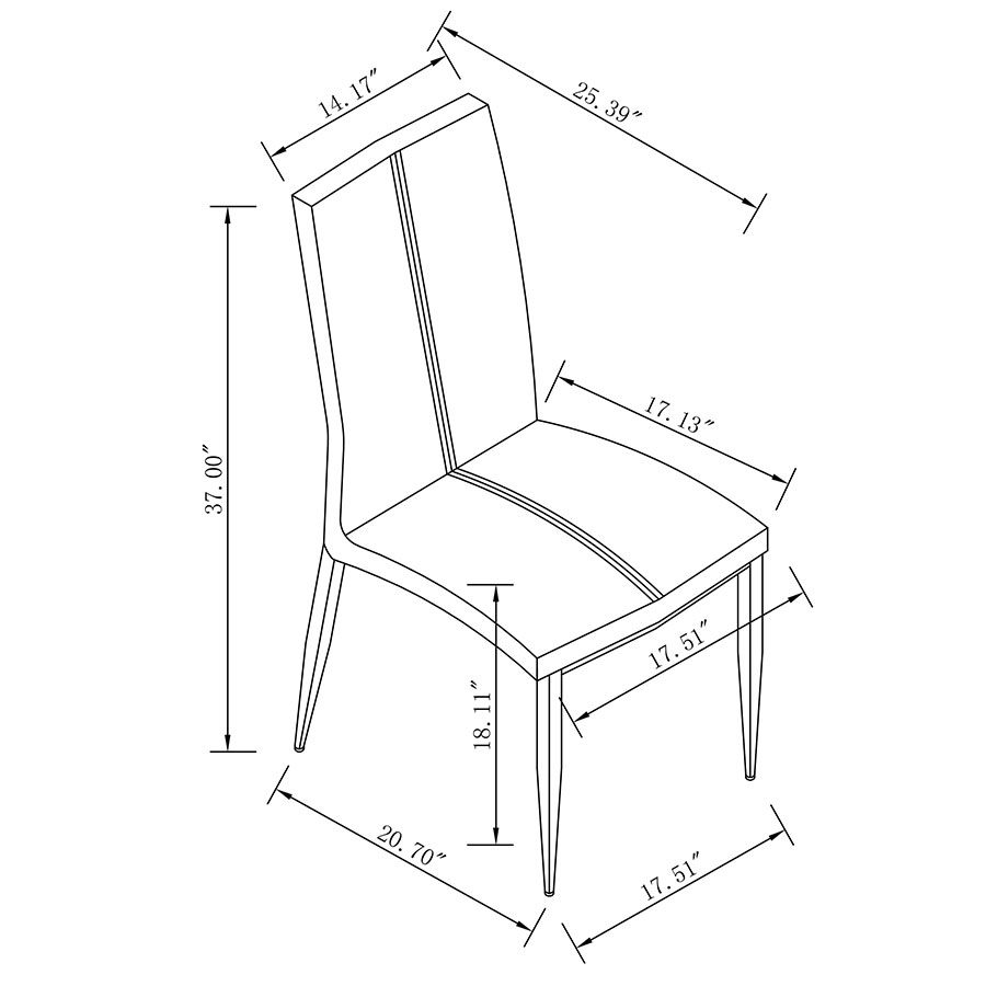 Dining Room Chair Dimensions: Arturo Red Side Chair