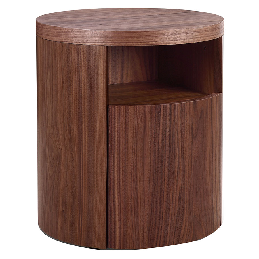 Arya Walnut Modern Nightstand + End Table